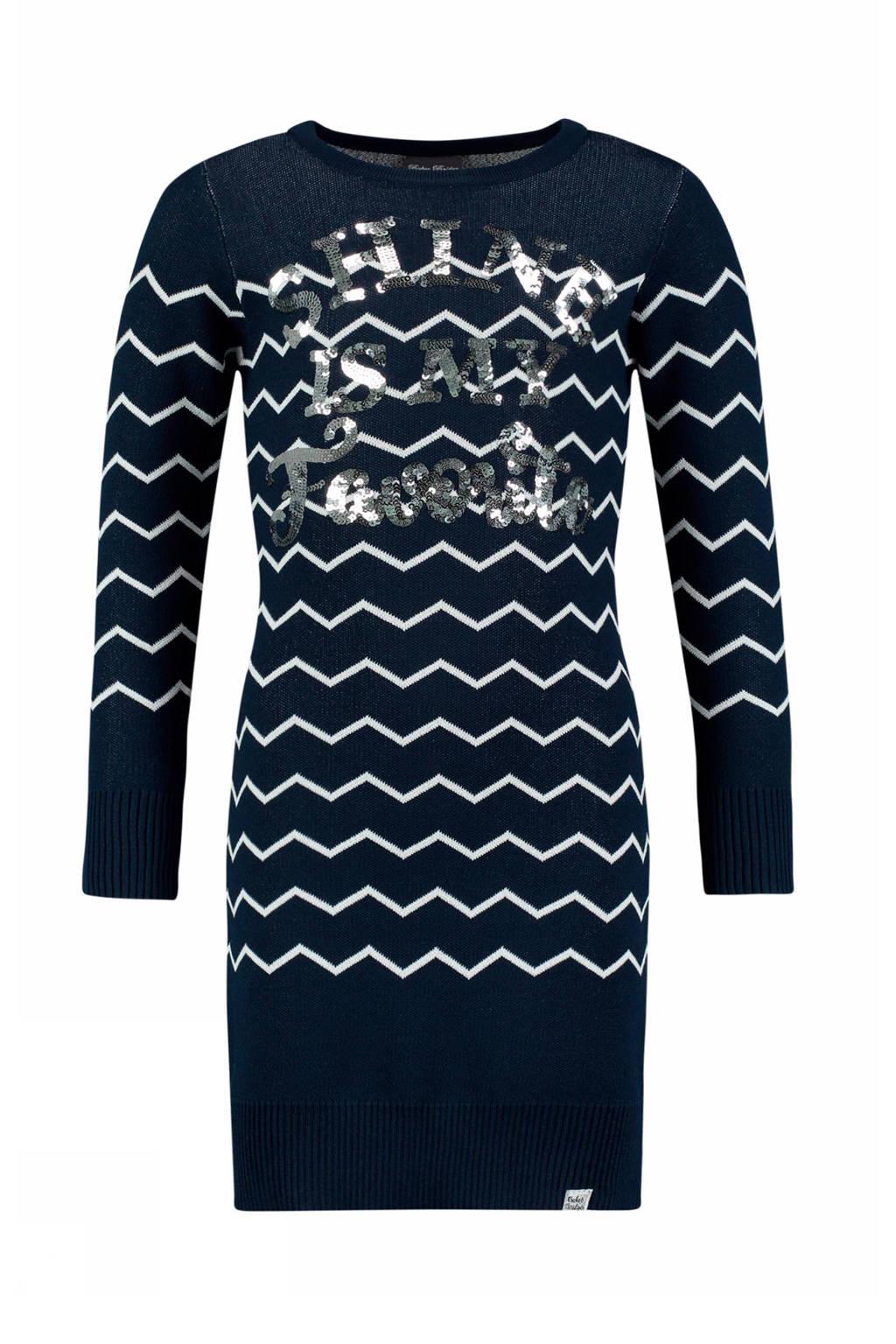 Baker Bridge jurk met grafische print en pailletten donkerblauw/wit, Donkerblauw/wit