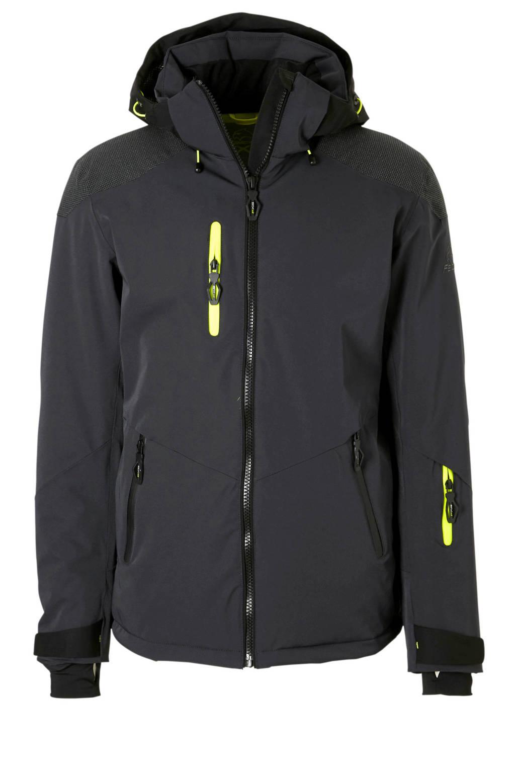 Falcon ski-jack Rafe donkerblauw, Donkerblauw/neon geel