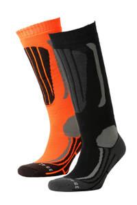Falcon skisokken (set van 2), Oranje/zwart