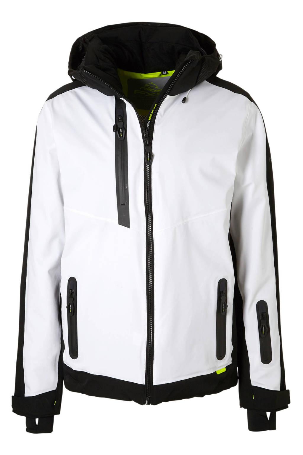 Falcon ski-jack Roscoe wit, Wit/zwart