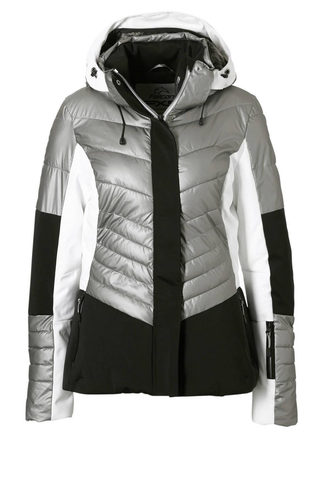 Falcon ski-jack Tyndall grijs, Grijs/wit/zwart