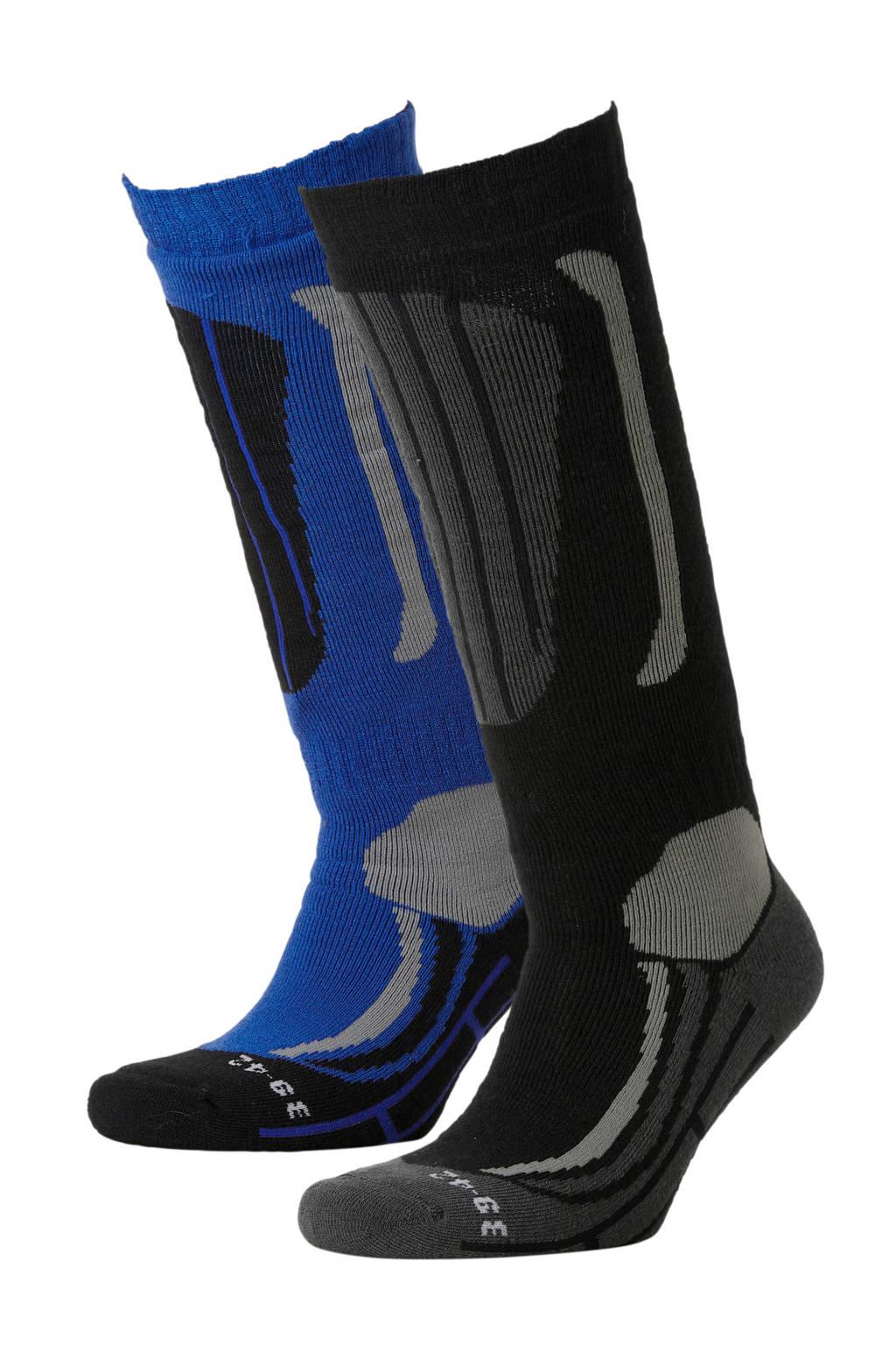 Falcon skisokken (set van 2), Blauw/zwart