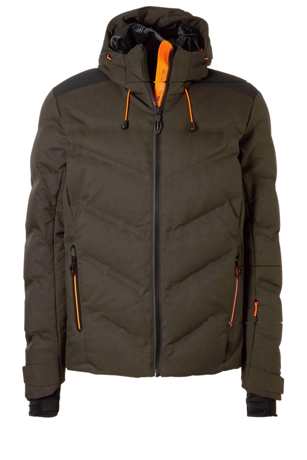Falcon ski-jack zwart/olijfgroen, Olijfgroen/zwart