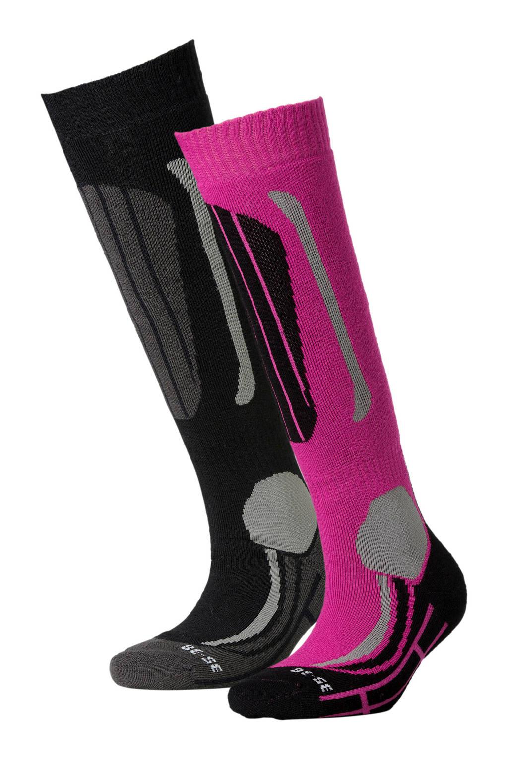 Falcon skisokken (set van 2), Roze/zwart
