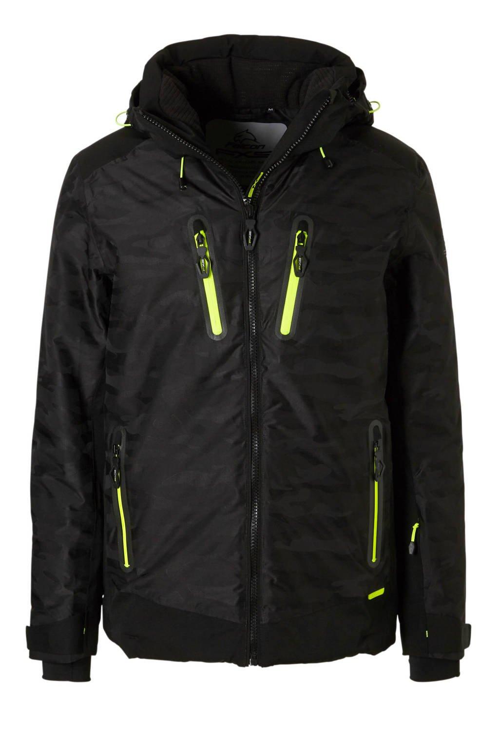 Falcon ski-jack Rock zwart, Zwart/neon geel