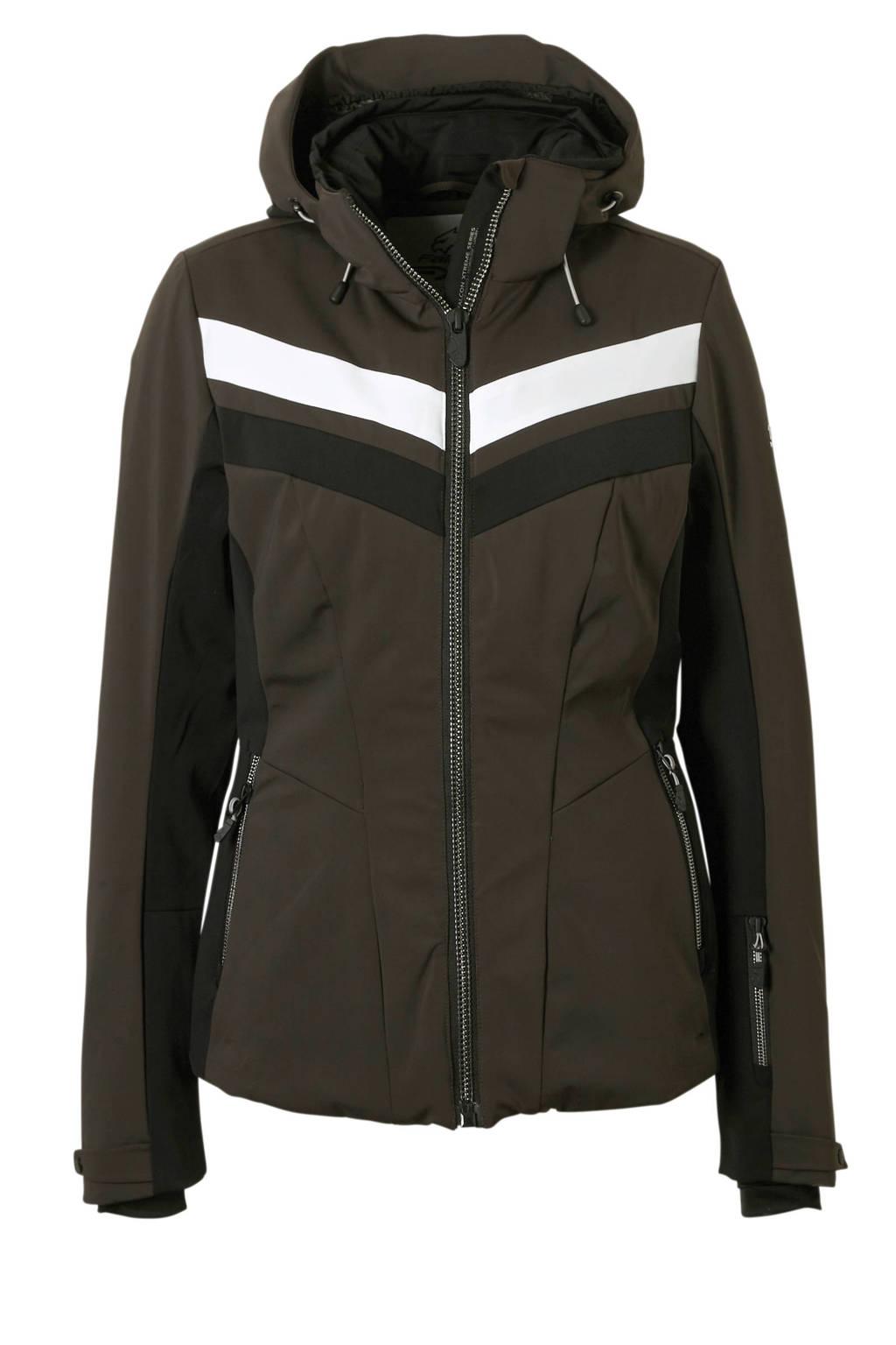 Falcon ski-jack Telica bruin, Bruin/wit/zwart