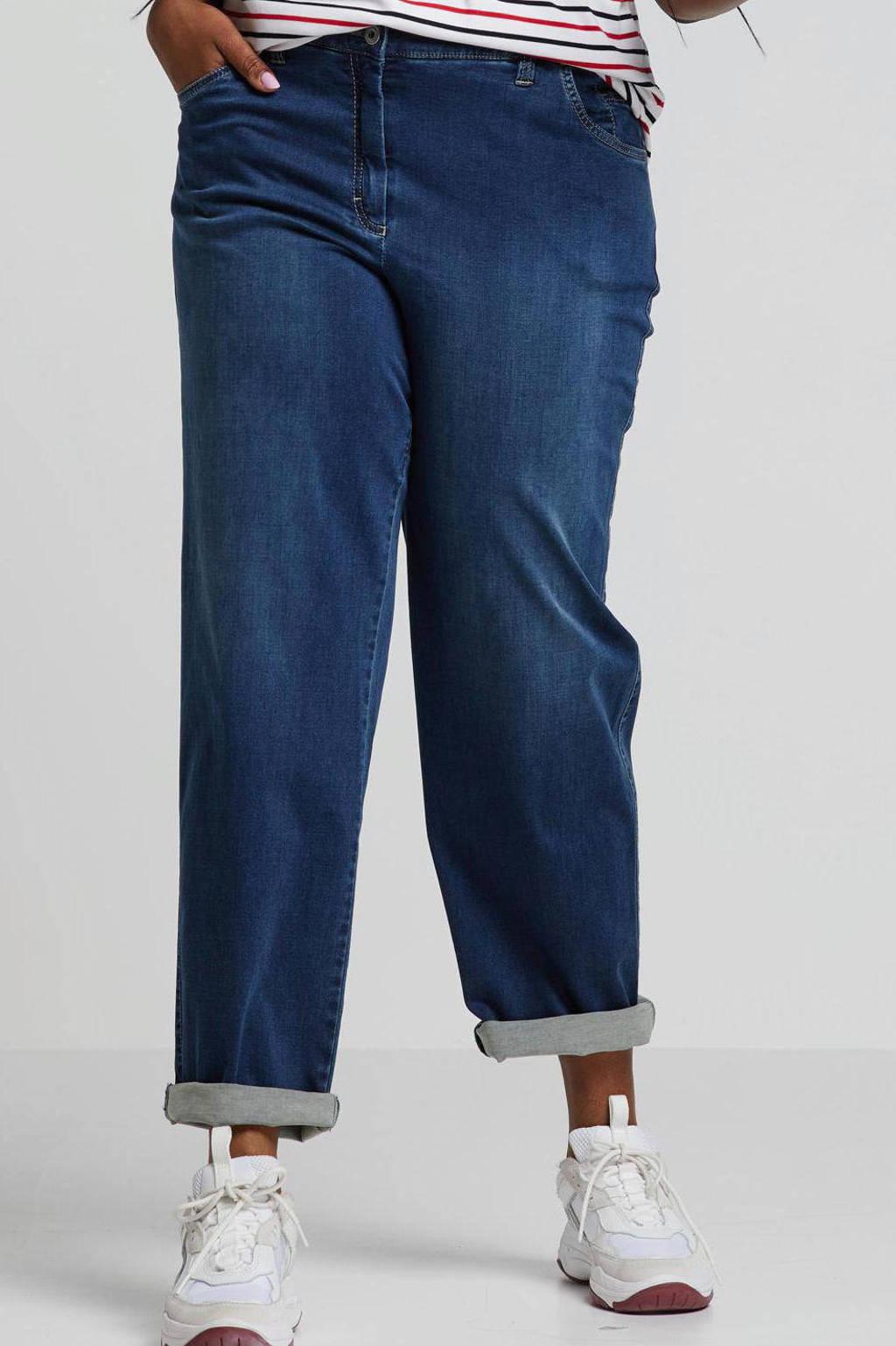 KjBRAND loose fit jeans Babsie met wol denim, Dark denim