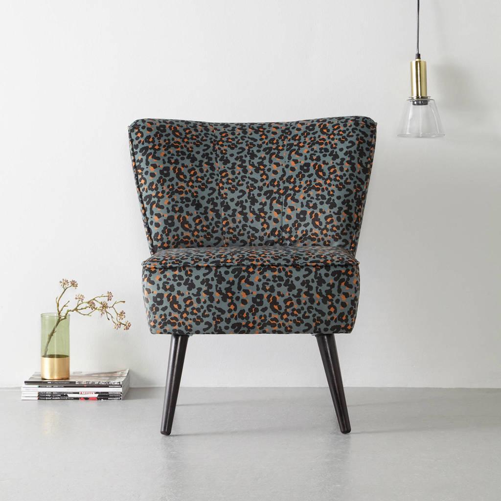 Wehkamp Home fauteuil Coco velours, Luipaardprint (legergroen)
