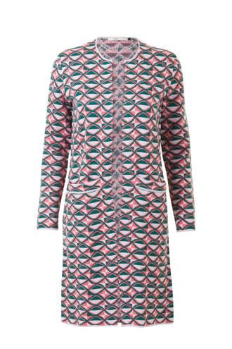 vest met all over print roze/groen