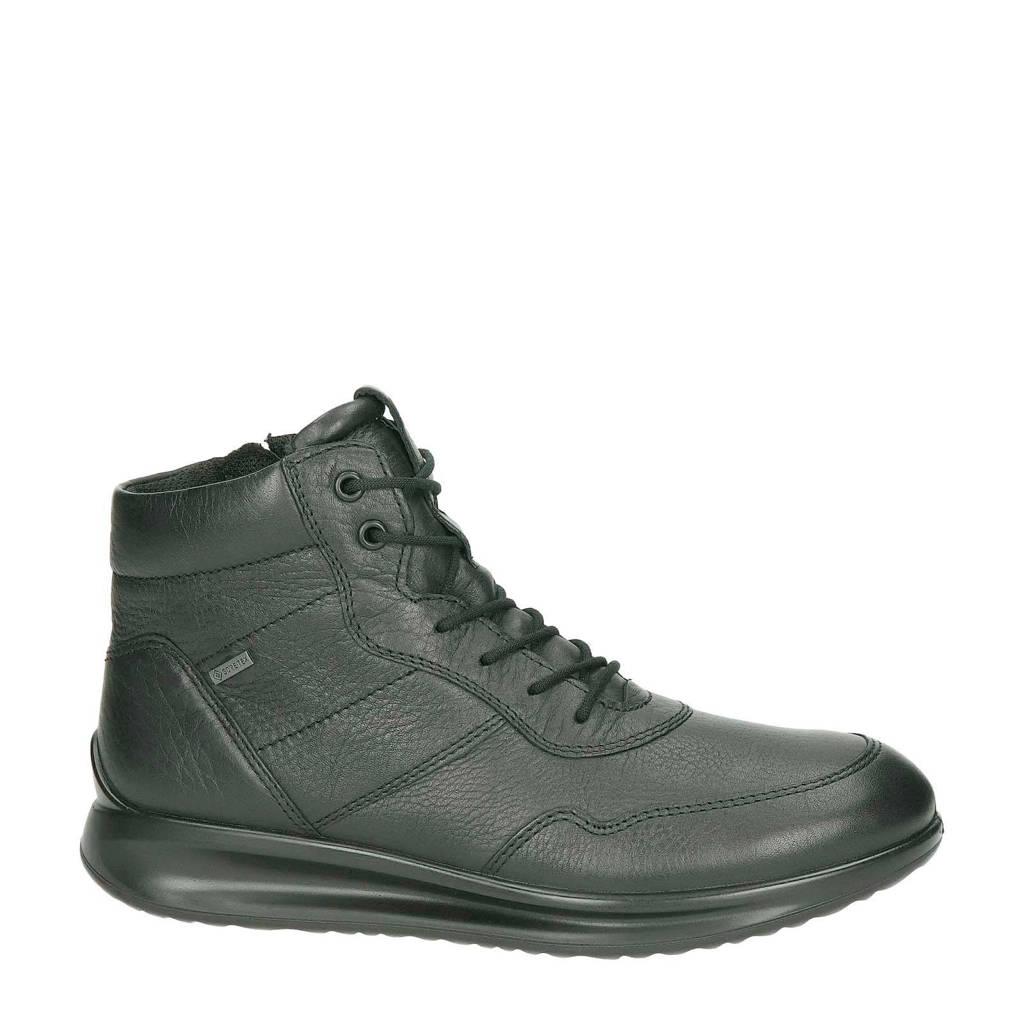 Ecco  leren sneakers Aquet zwart, Zwart