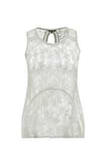MS Mode mouwloze top met kant wit (dames)