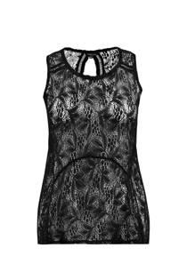 MS Mode mouwloze top met kant zwart (dames)