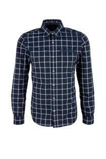 s.Oliver RED LABEL geruit slim fit overhemd marine (heren)