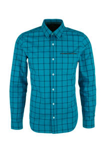 s.Oliver RED LABEL geruit slim fit overhemd tuquoise (heren)