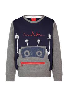 sweater met print donkerblauw