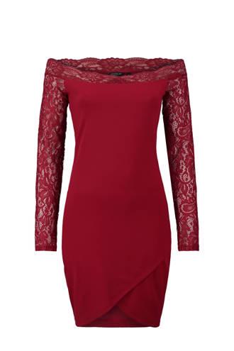 off shoulder jurk rood