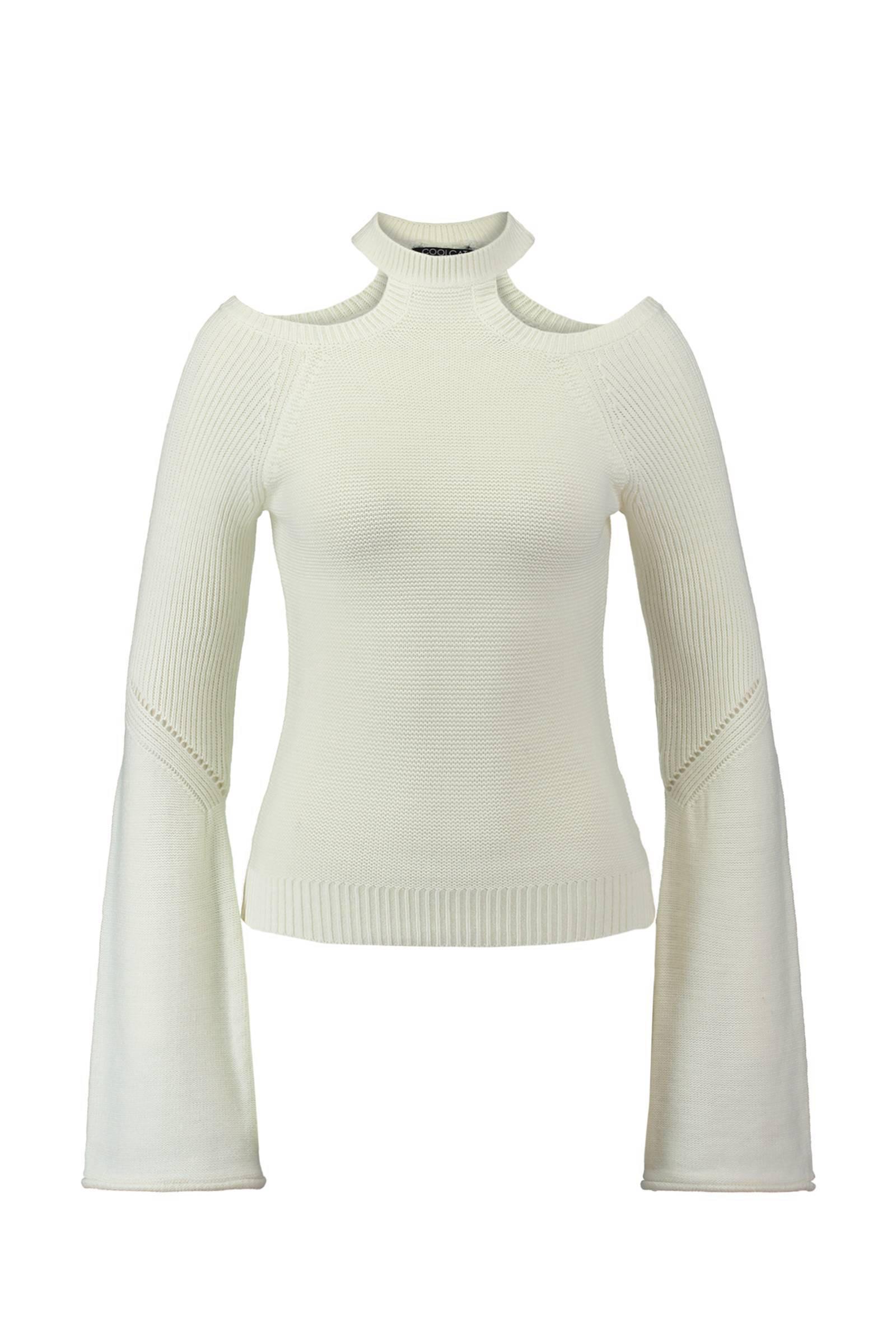 CoolCat open shoulder trui met flared mouwen wit | wehkamp
