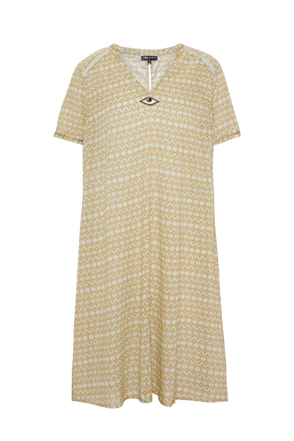Didi jurk met allover print, Geel