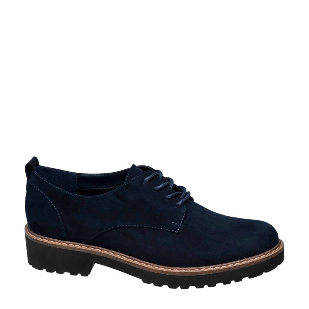 vanHaren Graceland veterschoenen donkerblauw, Donkerblauw