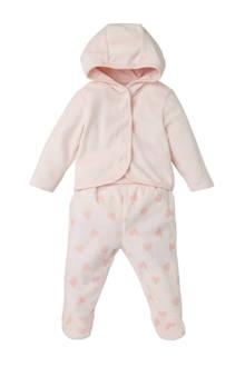 Baby Club newborn vest + broek met hartjes roze