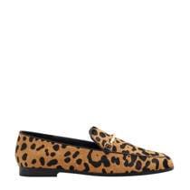 Violeta by Mango leren loafers met panterprint (dames)