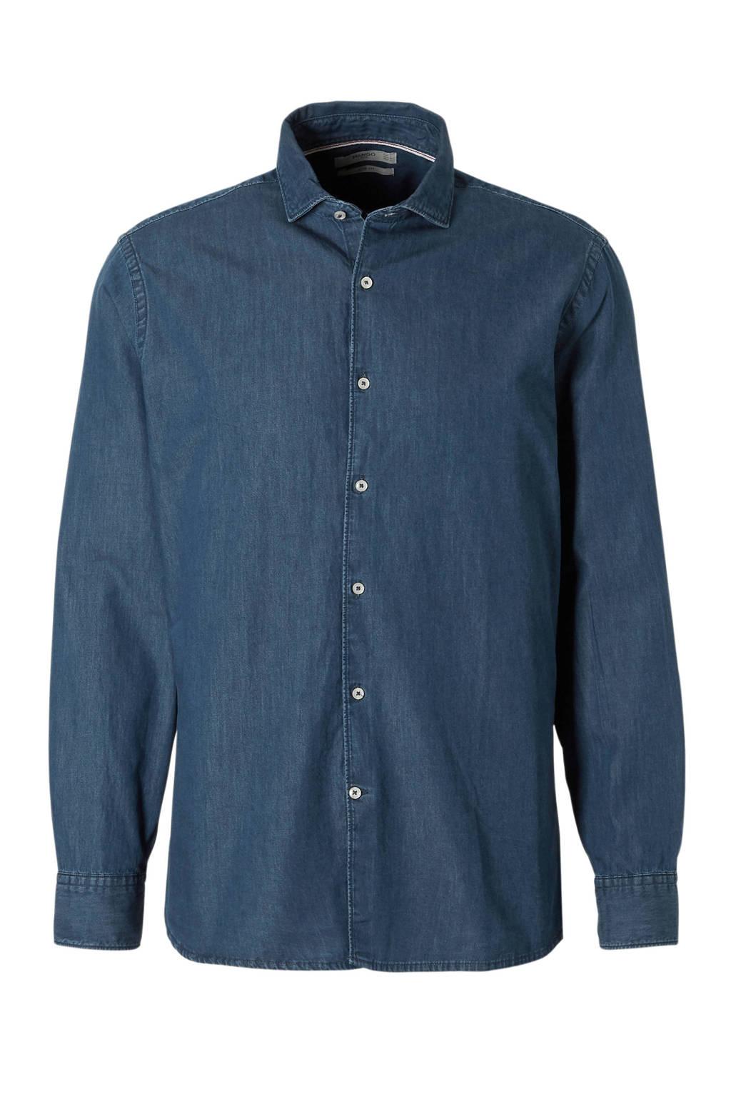 Overhemd Donkerblauw.Mango Man Slim Fit Overhemd Donkerblauw Wehkamp