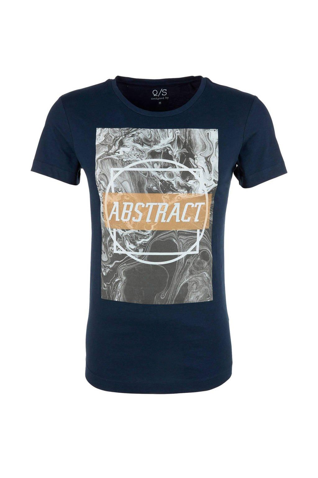 Q/S designed by T-shirt met printopdruk marine, Marineblauw