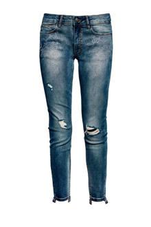 slim fit jeans met slijtage en studs