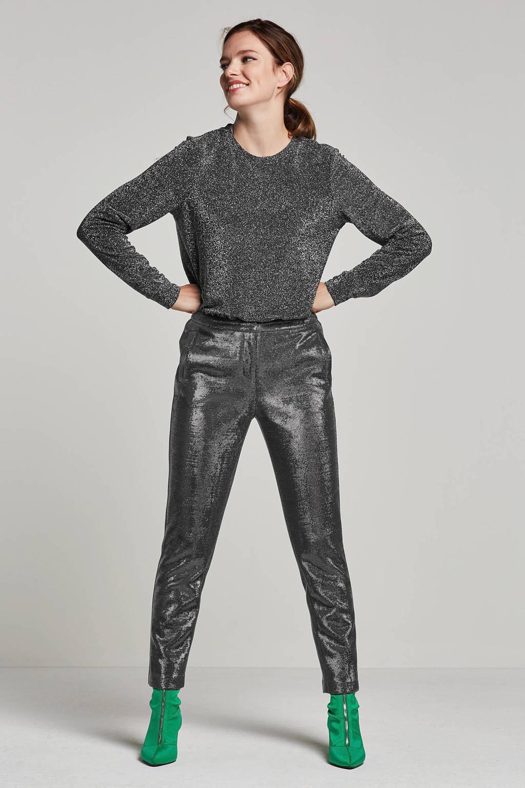 VERO MODA glitter top, Zilver/zwart