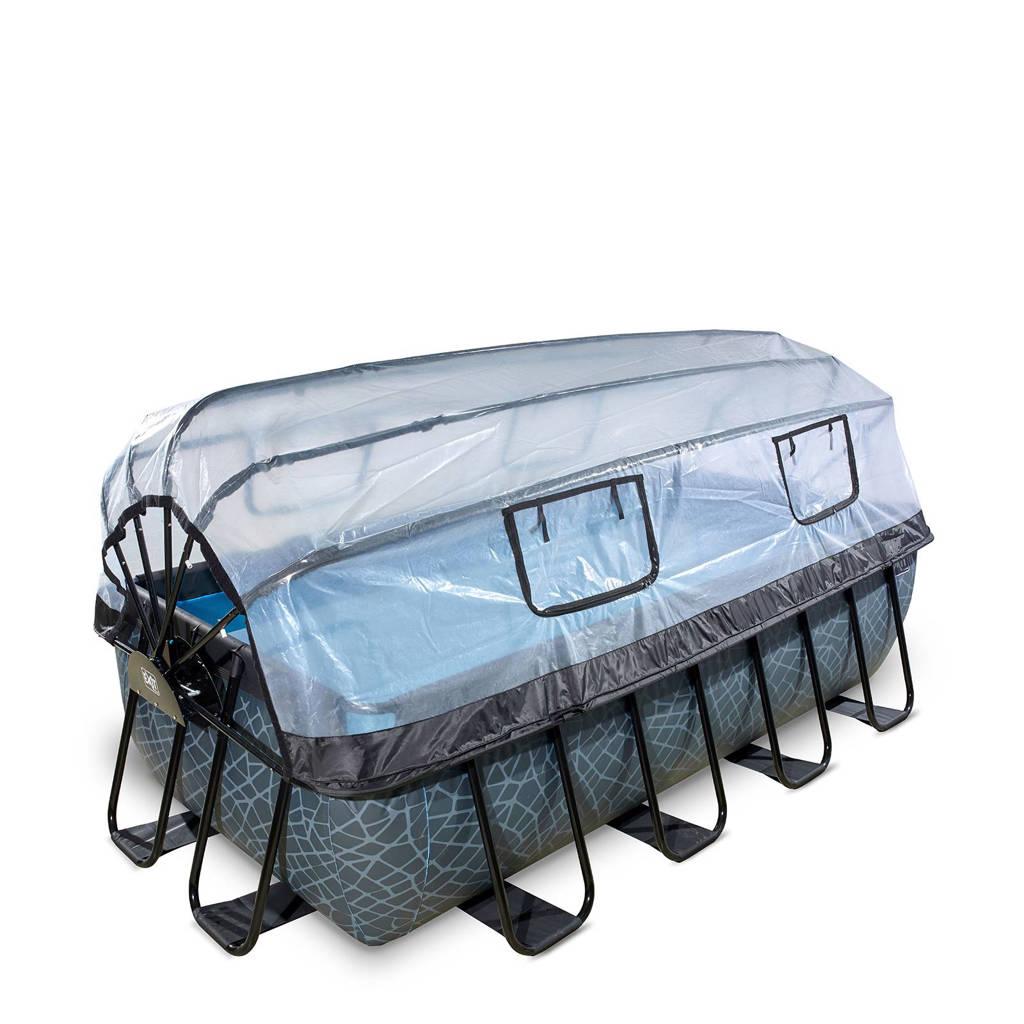 EXIT zwembad Stone met overkapping (400x200 cm), Grijs
