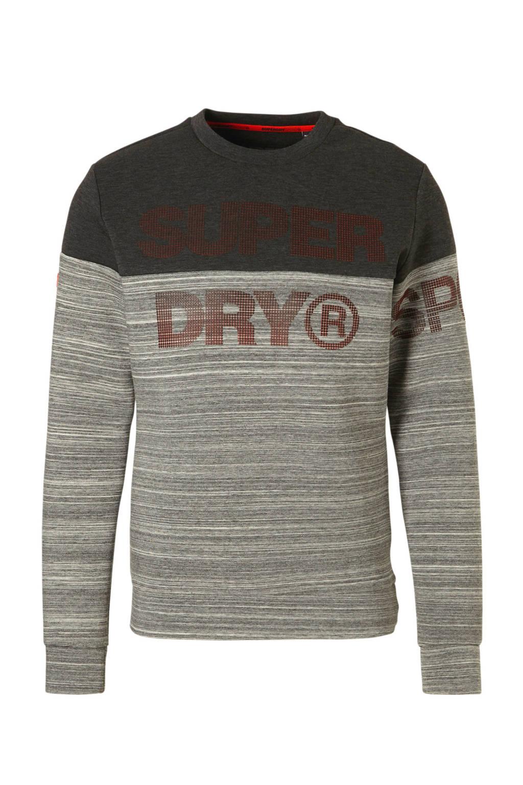Superdry Sport   sportsweater antraciet, Antraciet/grijs