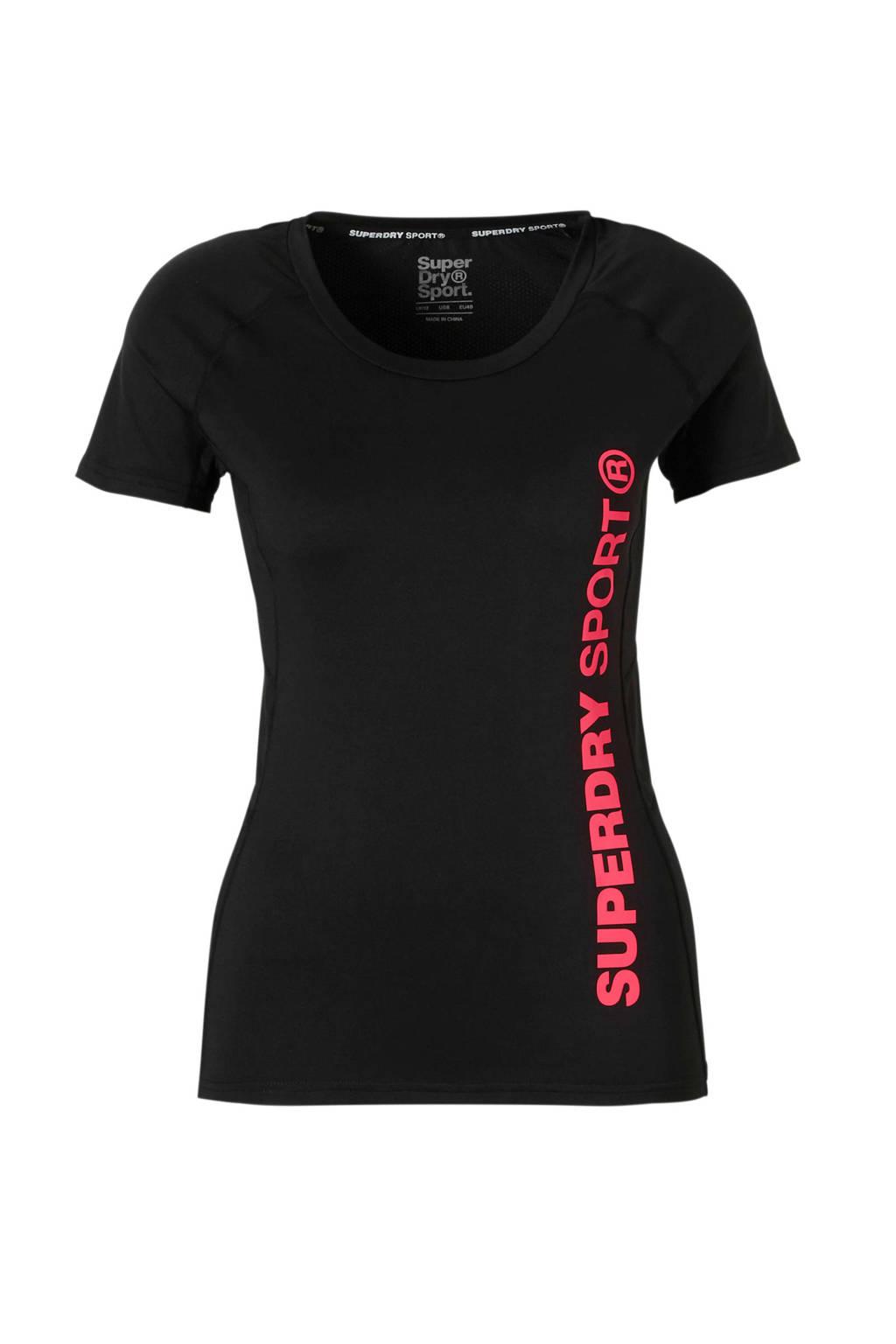 Superdry Sport sport T-shirt zwart, Zwart/roze
