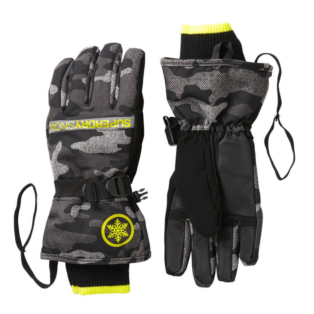 Superdry Sport skihandschoen zwart camouflage, zwart-grijs camouflage/groen