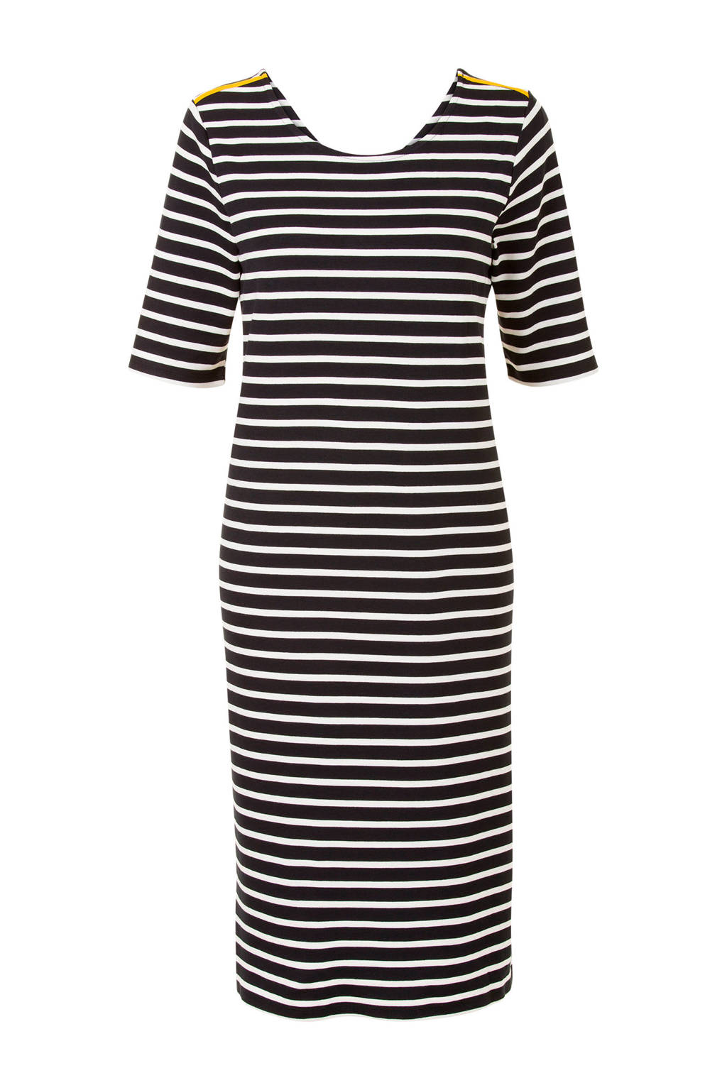 Miss Etam Lang gestreepte jurk, Zwart/wit/geel