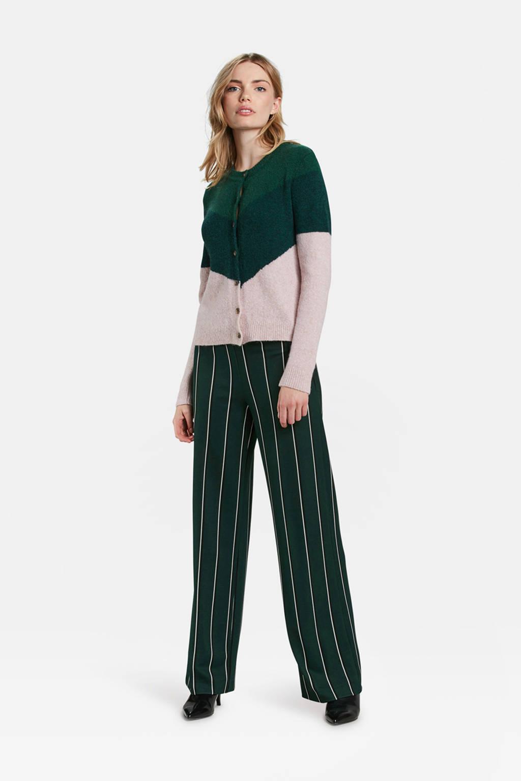 WE Fashion vest met wol donkergroen, Donkergroen/lichtbeige
