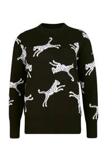 WE Fashion trui met luipaardprint zwart (dames)