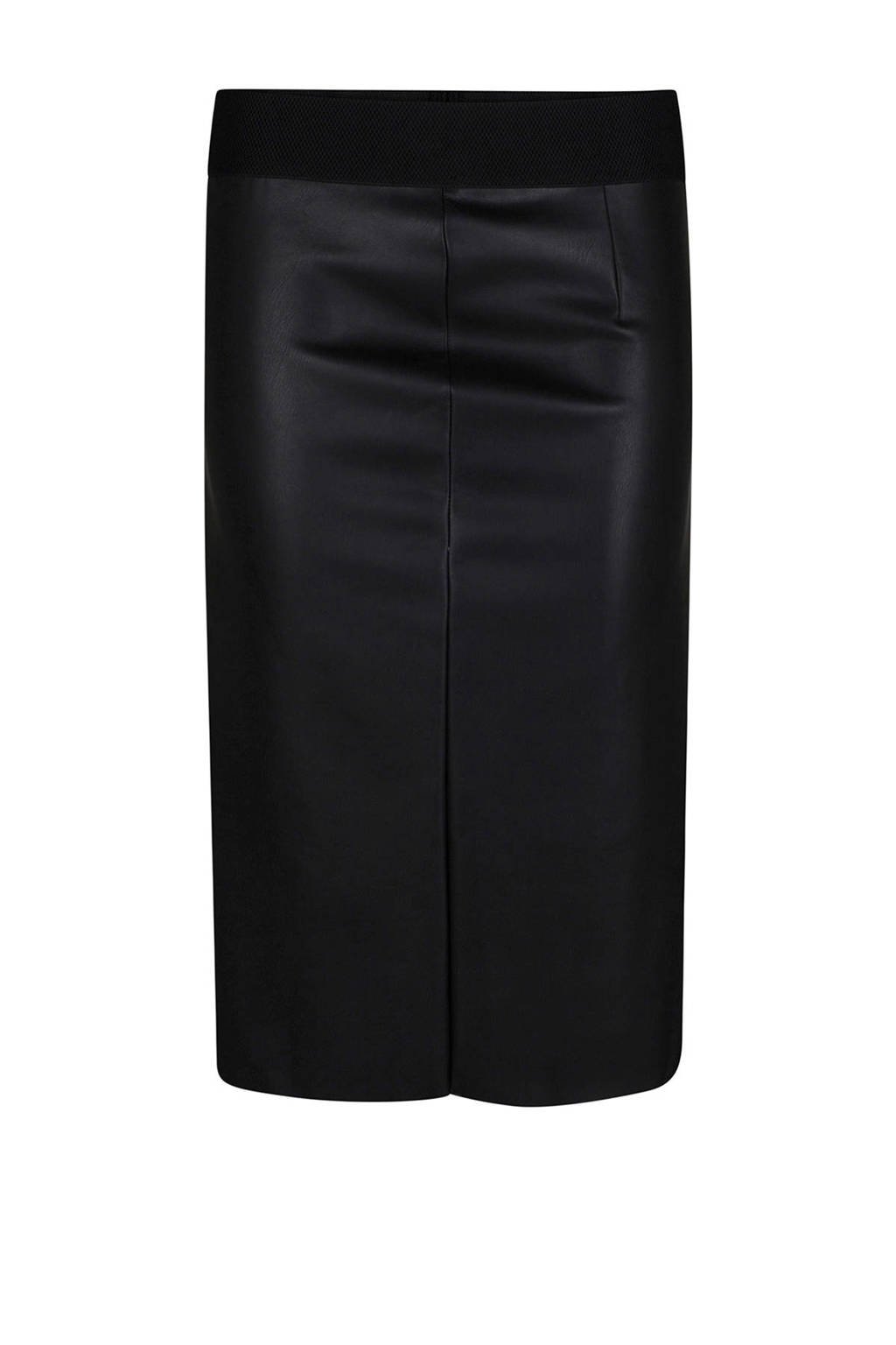 WE Fashion imitatieleren rok zwart, Zwart