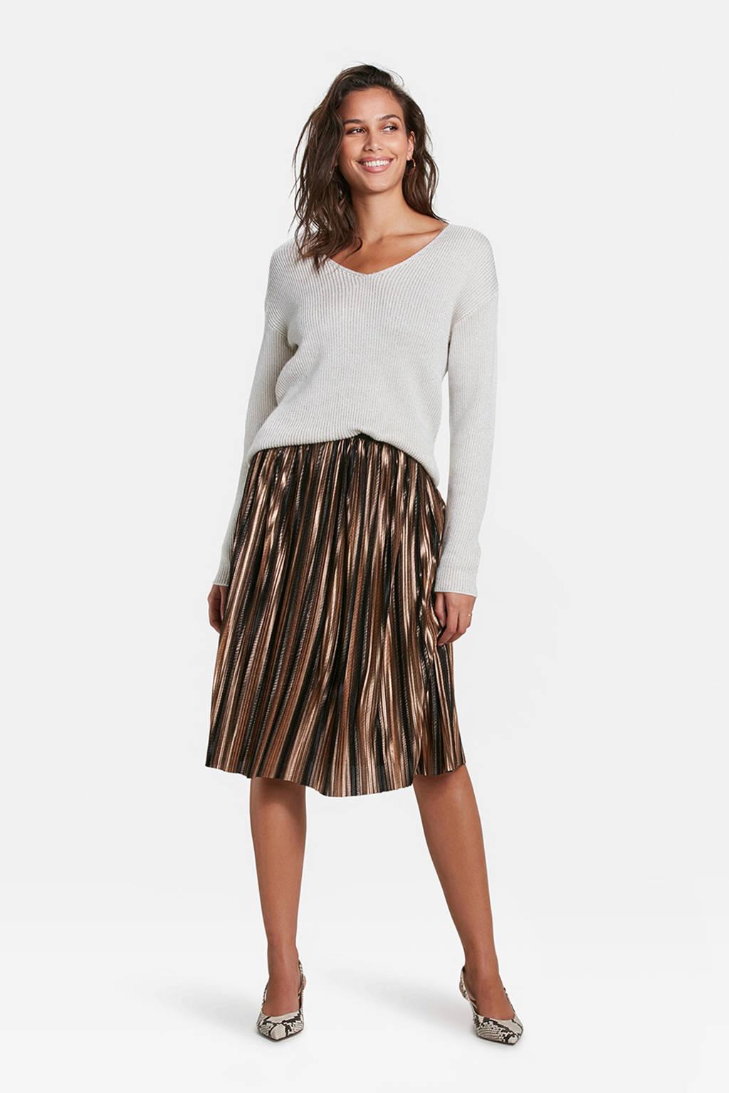 WE Fashion trui met wol en glitters wit, Wit