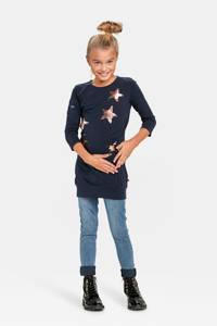 WE Fashion sweater met sterren en pailletten donkerblauw, Donkerblauw