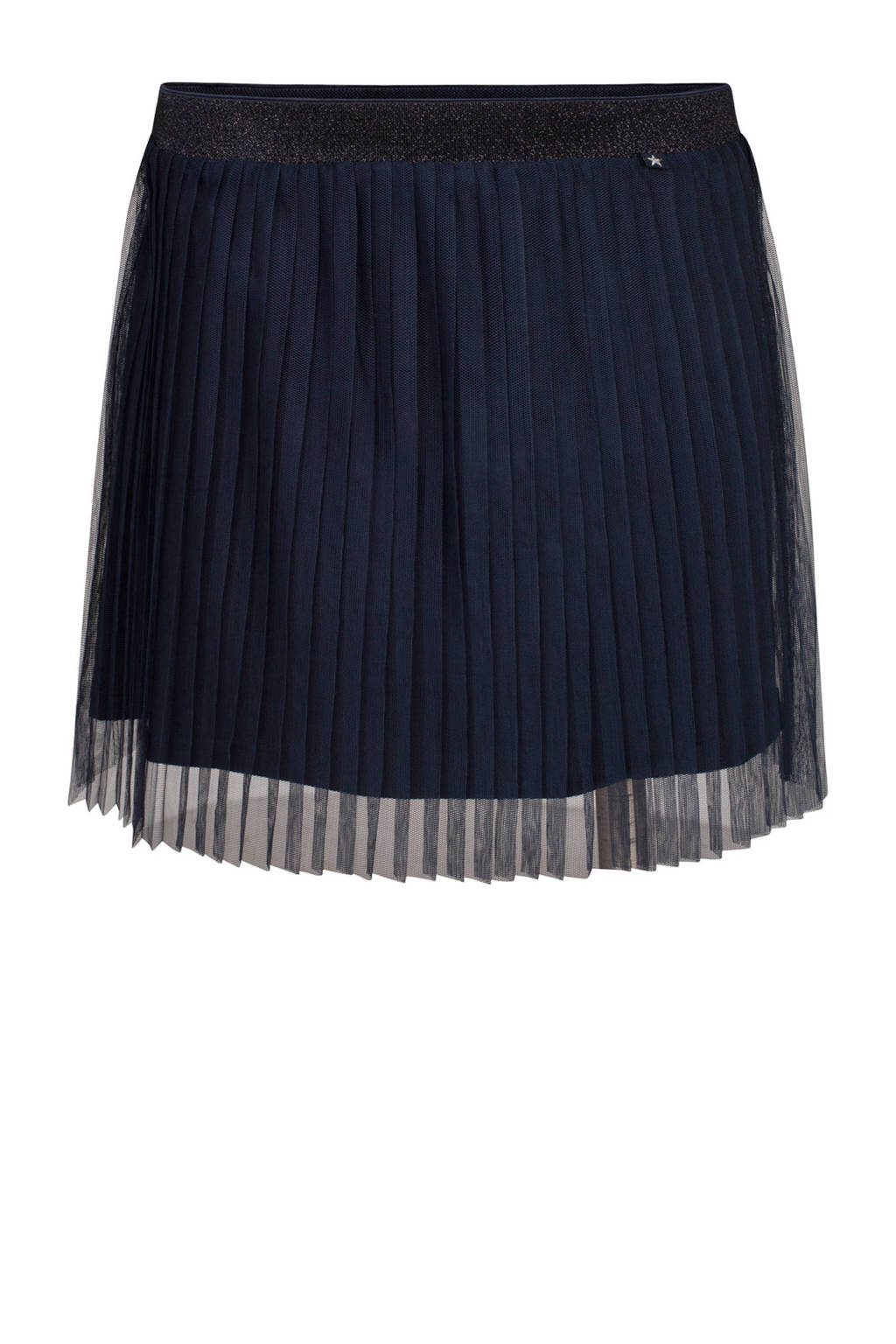 WE Fashion plissé tule rok donkerblauw, Donkerblauw