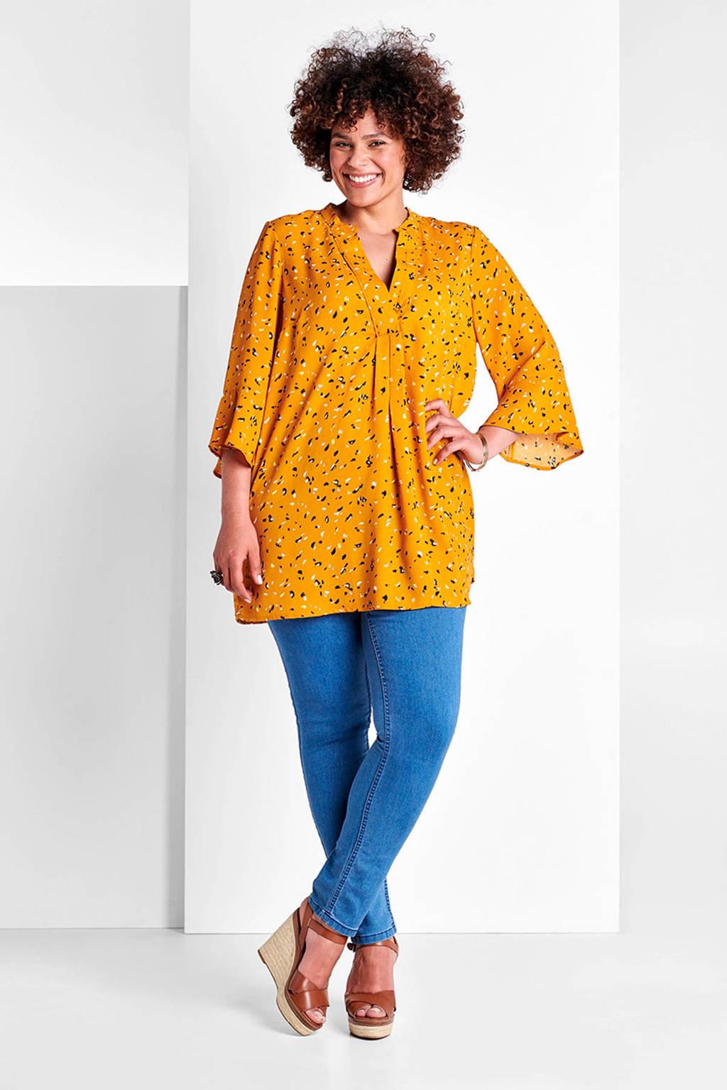 Miss Etam Plus slim fit tregging blauw, Light denim