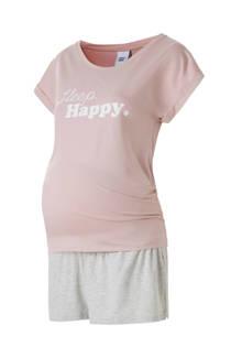MAMA-LICIOUS shortama met tekstopdruk roze/grijs (dames)