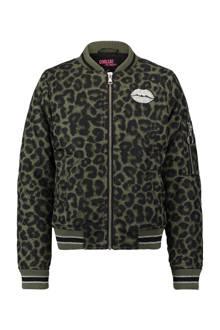 bomberjack met luipaardprint donkergroen