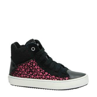 leren sneakers met glitters zwart