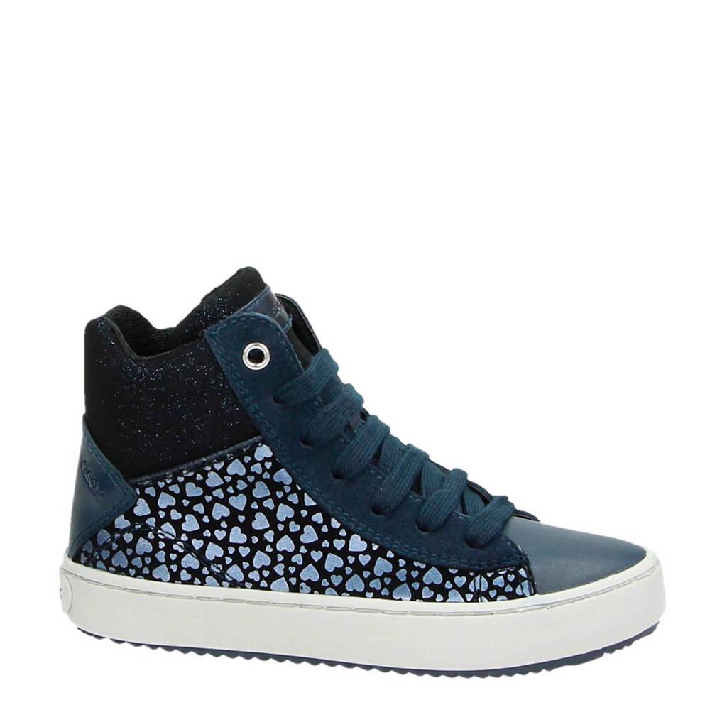 Geox  leren sneakers met glitters donkerblauw, Blauw