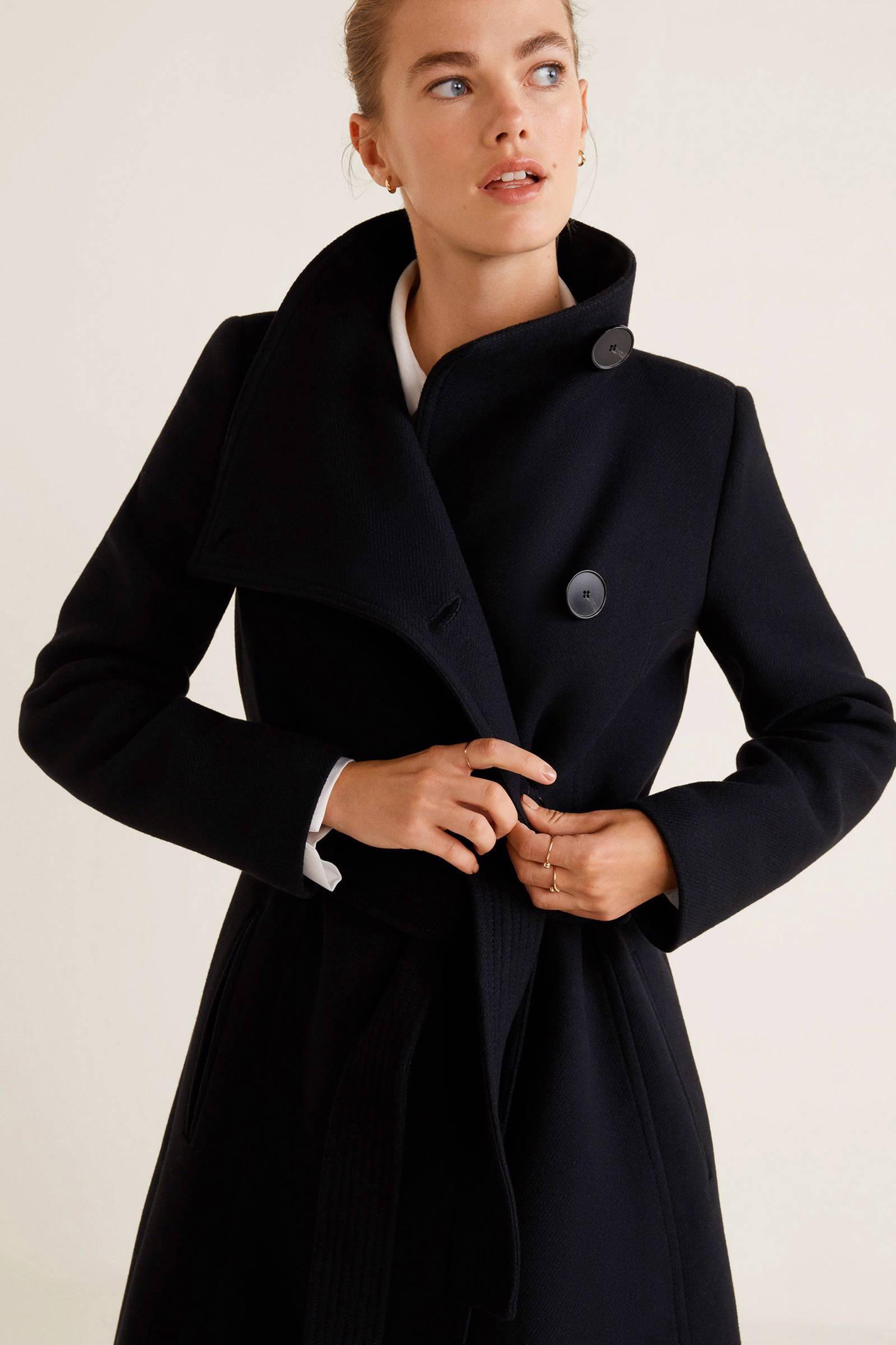 zwarte wollen winterjas dames