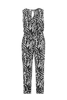 jumpsuit met zebraprint zwart/wit