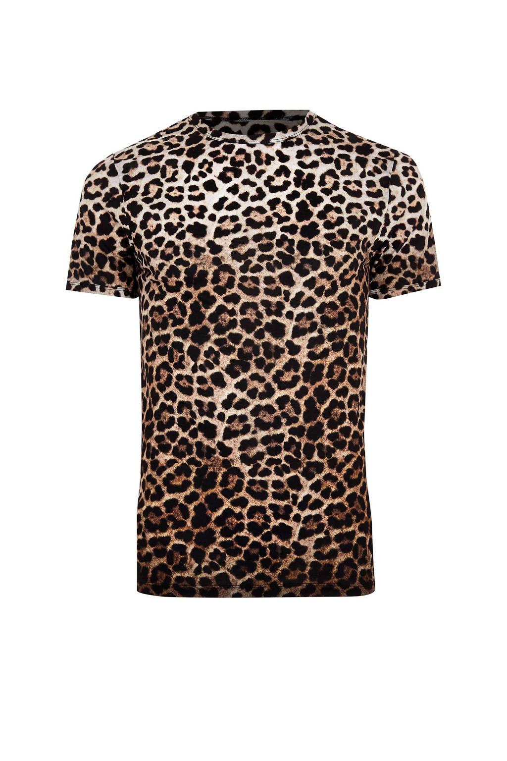 River Island slim fit T-shirt met panterprint, Bruin/zwart