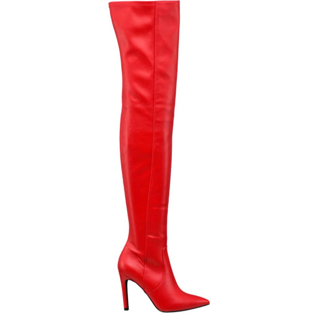 vanHaren Graceland overknee laarzen rood, Rood