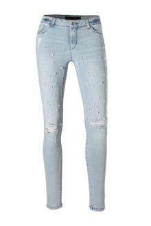 Clockhouse super skinny jeans met parels lichtblauw